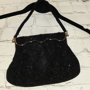 Vintage beaded black evening bag made in Japan
